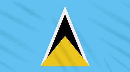 triângulo : Saint Lucia flag waving cloth, ideal for background, loop