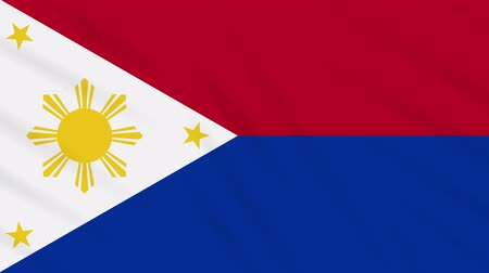takımadalar : Philippines flag in wartime waving cloth, ideal for background, loop