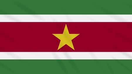 final round : Suriname flag waving cloth, ideal for background, loop