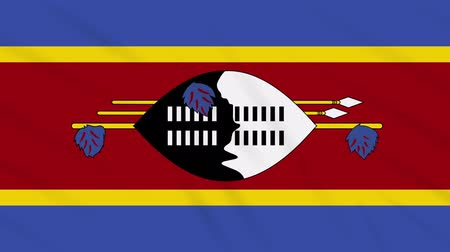 eswatini : Kingdom of eSwatini - Swaziland flag waving cloth, ideal for background, loop