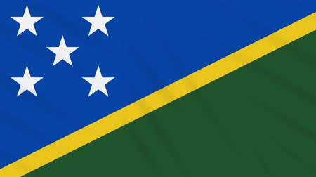 melanesia : Solomon Islands flag waving cloth, ideal for background, loop