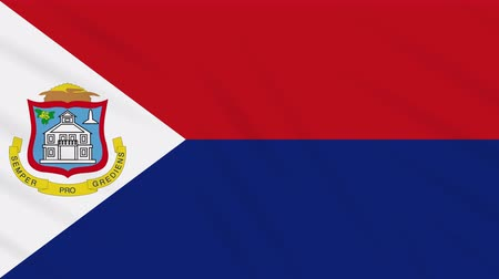 final round : Sint Maarten flag waving cloth, ideal for background, loop