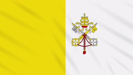 final round : Vatican flag waving cloth, ideal for background, loop