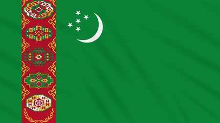 hilâl : Turkmenistan flag waving cloth, ideal for background, loop
