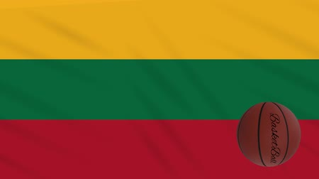 litvánia : Lithuania flag wavers and basketball rotates, loop Stock mozgókép