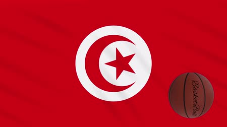 skorlama : Tunisia flag wavers and basketball rotates, loop.
