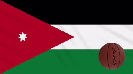 giordania : Jordan flag wavers and basketball rotates, loop