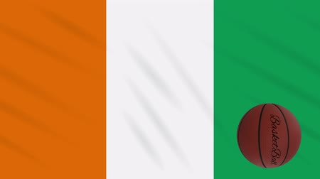 marfim : Cote dIvoire - Ivory Coast flag wavers and basketball rotates, loop