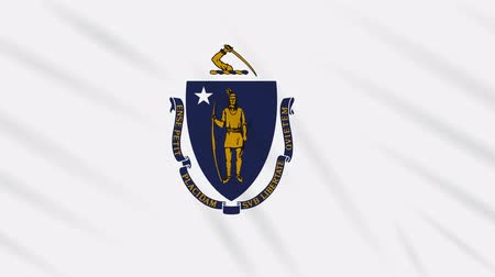 флаг : Massachusetts flag waving cloth, ideal for background, loop