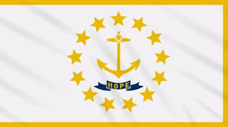 rhode : Rhode Island flag waving cloth, ideal for background, loop