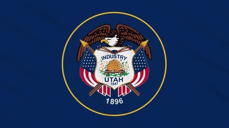 victory day : Utah flag waving cloth, ideal for background, loop