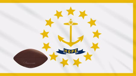rhode : Rhode Island flag and american football ball rotates against background of a waving cloth, loop