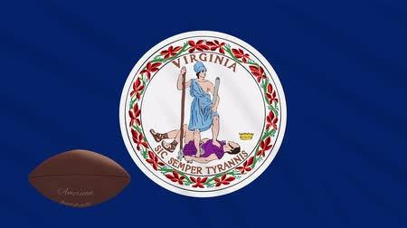 futball : Virginia flag and american football ball rotates against background of a waving cloth, loop Stock mozgókép
