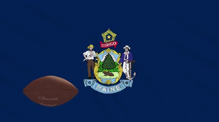 augusta : Maine flag and american football ball rotates against background of a waving cloth, loop
