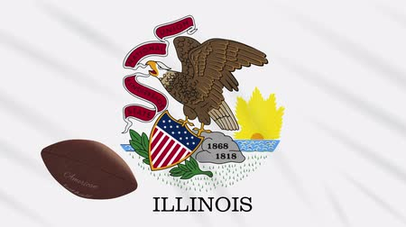 végső : Illinois flag and american football ball rotates against background of a waving cloth, loop