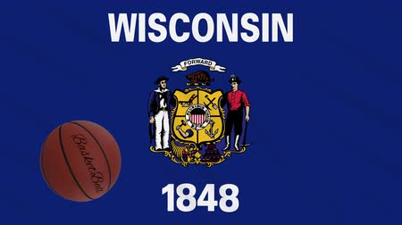 végső : Wisconsin flag and basketball ball rotates against background of a waving cloth, loop