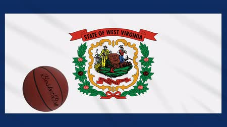 Виргиния : West Virginia flag and basketball ball rotates against background of a waving cloth, loop