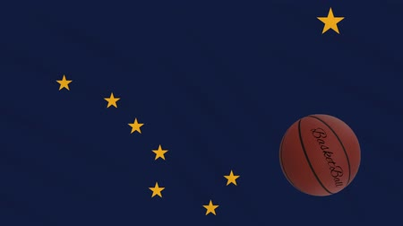végső : Alaska flag and basketball ball rotates against background of a waving cloth, loop Stock mozgókép