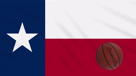 abroncs : Texas flag and basketball ball rotates against background of a waving cloth, loop