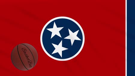 ciclo : Tennessee flag and basketball ball rotates against background of a waving cloth, loop