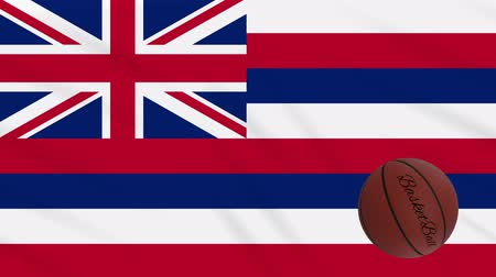abroncs : Hawaii flag and basketball ball rotates against background of a waving cloth, loop