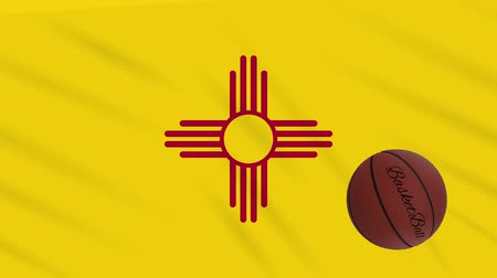 world cup : New Mexico flag and basketball ball rotates against background of a waving cloth, loop