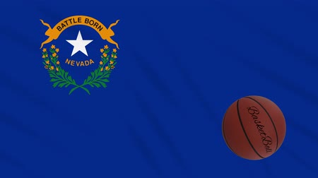 abroncs : Nevada flag and basketball ball rotates against background of a waving cloth, loop Stock mozgókép