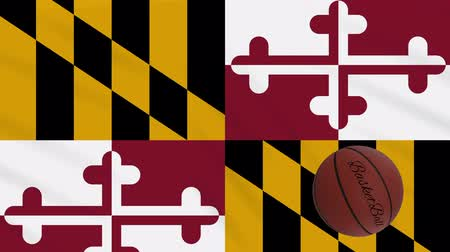 world cup : Maryland flag and basketball ball rotates against background of a waving cloth, loop