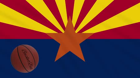 world cup : Arizona flag and basketball ball rotates against background of a waving cloth, loop Stock Footage
