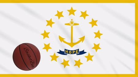 abroncs : Rhode Island flag and basketball ball rotates against background of a waving cloth, loop