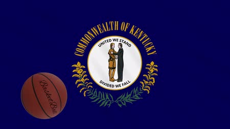 végső : Kentucky flag and basketball ball rotates against background of a waving cloth, loop