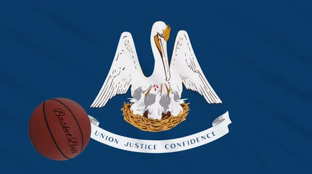abroncs : Louisiana flag and basketball ball rotates against background of a waving cloth, loop