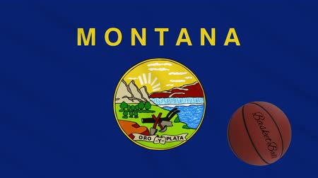 world cup : Montana flag and basketball ball rotates against background of a waving cloth, loop