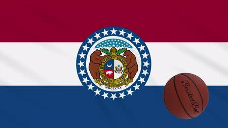 world cup : Missouri flag and basketball ball rotates against background of a waving cloth, loop