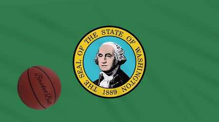 abroncs : Washington flag and american basketball rotates against background of a waving cloth, loop Stock mozgókép