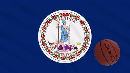 végső : Virginia flag and american basketball rotates against background of a waving cloth, loop Stock mozgókép