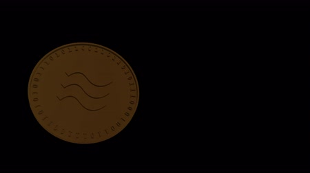 libra : Libra isolated digital cryptocurrency gold coin soars and falls on a transparent background, 4444 prores footage with alpha channel, vertical video, slow motion Stock Footage