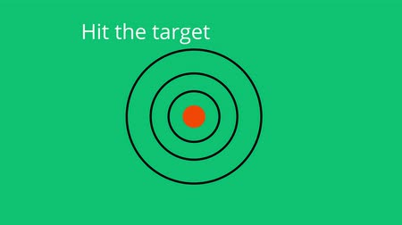 strzałki : Two arrows hitting the target on a green background and the inscription hit the target after me Wideo