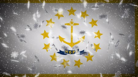 rhode : Rhode Island flag falling snow, New Year and Christmas background, loop.
