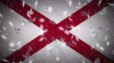 życzenia : Alabama flag falling snow loopable, New Year and Christmas background, loop.