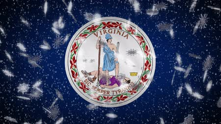 richmond : Virginia flag falling snow, New Year and Christmas background, loop.