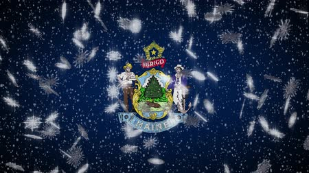 augusta : Maine flag falling snow, New Year and Christmas background, loop.