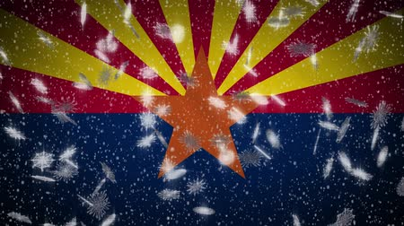 феникс : Arizona flag falling snow loopable, New Year and Christmas background, loop.