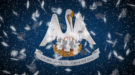 rouge : Louisiana flag falling snow, New Year and Christmas background, loop.