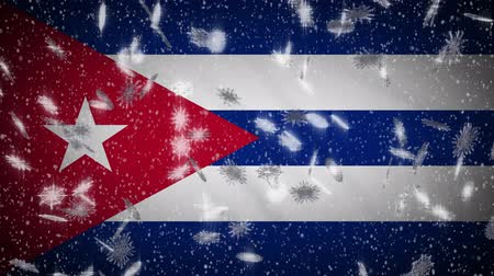 socialismo : Cuba flag falling snow loopable, New Year and Christmas background, loop.