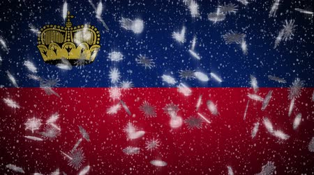 monarchy : Liechtenstein flag falling snow loopable, New Year and Christmas background, loop.