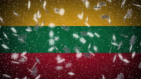 flag of lithuania : Lithuania flag falling snow loopable, New Year and Christmas background, loop.