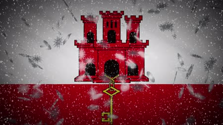 iberian : Gibraltar flag falling snow loopable, New Year and Christmas background, loop. Stock Footage