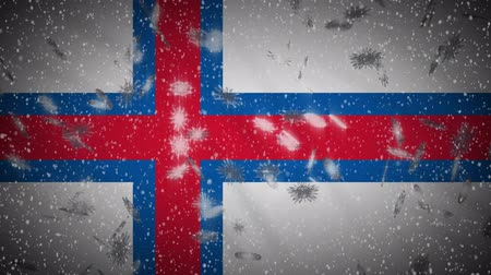 torshavn : Faroe Islands flag falling snow loopable, New Year and Christmas background, loop.