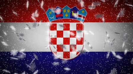 ザグレブ : Croatia flag falling snow loopable, New Year and Christmas background, loop. 動画素材